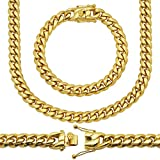 10MM, 8' Premium 18KT Real Gold Electroplated Stainless Steel Heavy Solid Miami Cuban Link Chain. Secure Box Lock. Available in 30', 28', 26', 24', 22' Necklace or 8', 9' Bracelet