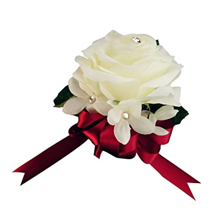 Amazon Pin Corsage Silk Flower Ivory Rose Apple Red Ribbon