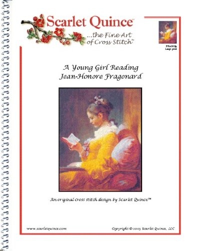 Scarlet Quince FRA001lg A Young Girl Reading by Jean-Honore Fragonard Counted Cross Stitch Chart, Large Size Symbols