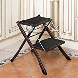 Where to Buy Wooden Folding Chairs Yxsd Chair seat Folding Ladder Home Stair Step to Expand Multi-Function Dual-use Stool, Folding Ladder Chair (42 48 41.5cm) (Color : Brown)