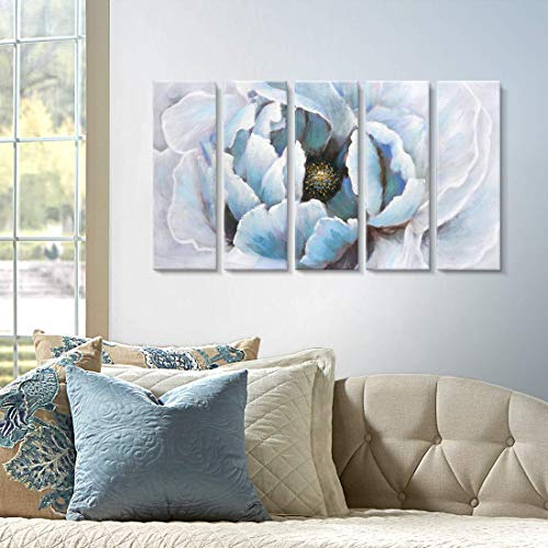 Wall Art for Living Room Modern Hand-painted Abstract Floral Wall Art Blooming Flower Oil Painting on Wrapped Canvas Artwork for Bedroom Bathroom Wall Decoration 5 Pieces Blue Peony Gold Core