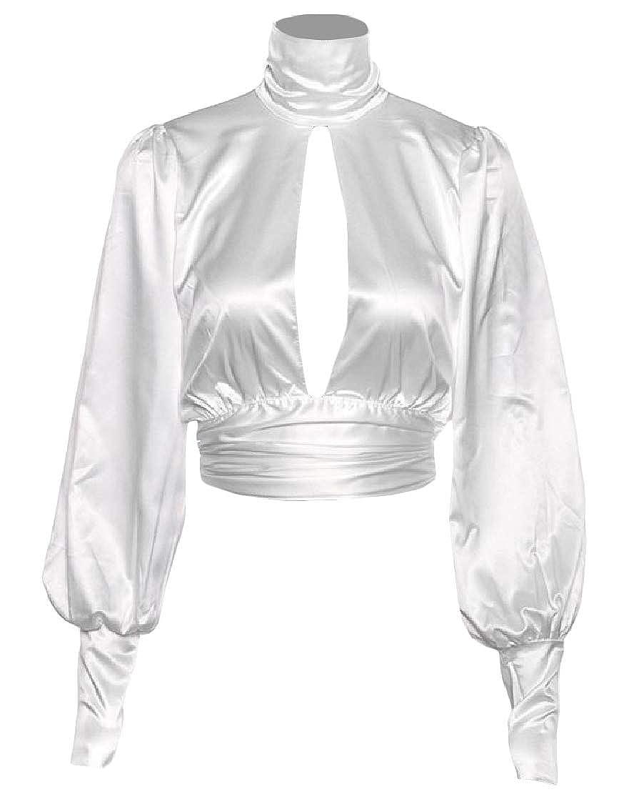 Lutratocro Women Hollow Trendy High Collar Open Back Lantern Sleeve Tops T-Shirt