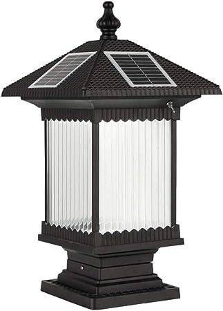 Zavddy-Home Lámpara De Jardín Faros Pilar de la Columna al Aire Libre Luz Solar lámpara de Pared Impermeable al Aire Libre Jardín Colocar Las Luces (Color : Negro, tamaño : 25×25×35cm): Amazon.es: