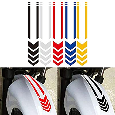 Motorcycle Fender Decals Stickers Universal Reflective Arrows Pattern Motorcycle Decals 13.4 x 2.7 inch (Yellow): Automotive
