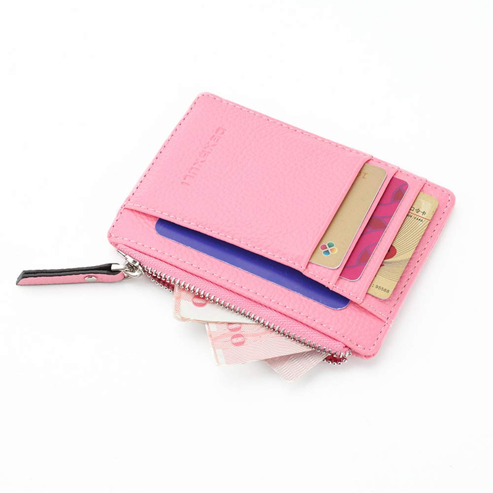 DEXBXULI PU Leather Card Case Holder Thin Wallet Money Clip Pocket Zipper Bilateral Symmetry