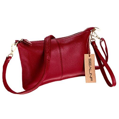 Women's Small SEALINF Leather Bag Shoulder Cowhide Purse wine red Handbag Clutch axXXdPR