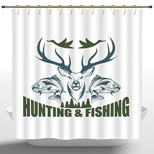Decorative Shower Curtain by iPrint,Hunting Decor,Artistic Emblem Moose Head Horns Trout Salmon Sea Fishes,Olive Green Slate Blue White,Waterproof Bathroom Shower Curtains Deasign