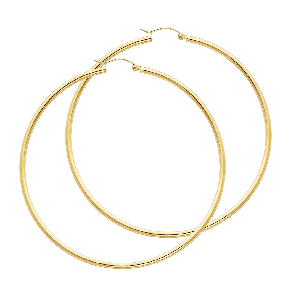 14k Yellow Gold 2mm Thickness Hinged Hoop Earrings (65 x 65 mm)