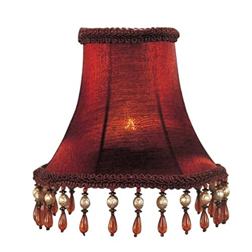 Beaded lamp shade amazon livex lighting s158 bell clip chandelier shade with amber beads red silk aloadofball Choice Image