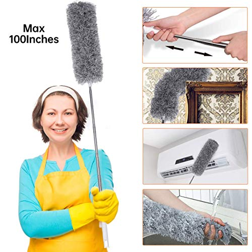 Microfiber Dusters for Cleaning with Extension Pole Reaches 100 inches