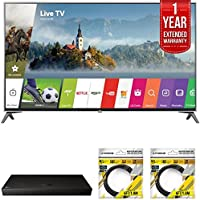 LG 60 Super UHD 4K HDR Smart LED TV 2017 Model (60UJ7700) with LG 4K Ultra-HD Blu-ray Player with Multi HDR, 1 Year Extended Warranty & 2x General Brand 6ft High Speed HDMI Cable