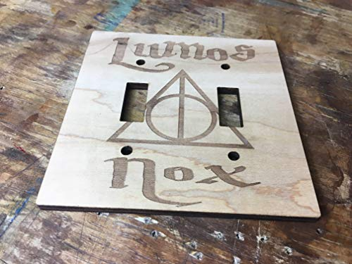 Harry Potter Engraved Wood Light Switch Cover (Double) by Havoly (Image #1)