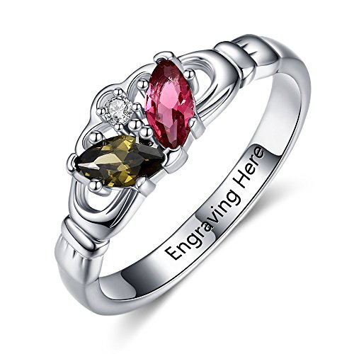Birth Month Claddagh Ring Personalized Wedding Promise Rings for Women with 2 Simulated Birthstones (8)