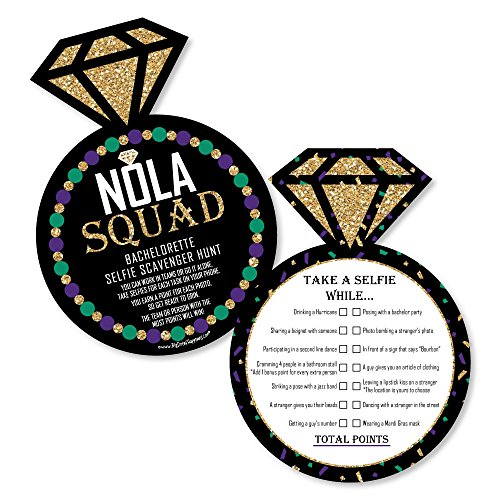 NOLA Bride Squad - Selfie Scavenger Hunt - New Orleans Bachelorette Party Game - Set of 12 by Big Dot of Happiness