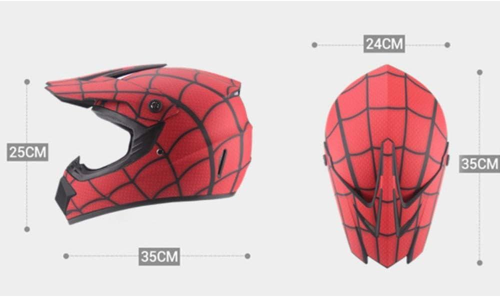 YDYDYD Un Casque De Moto Tout-Terrain Qui Imite Le Casque Spider-Man Et Est Livr/é avec Un Masque De Gants De Lunettes Taille: S, M, L, XL