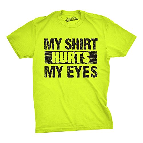 Neon Eyes - Mens My Shirt Hurts My Eyes Funny Bright Neon Hilarious Colorful Neon T Shirt (Safety Green) XXL