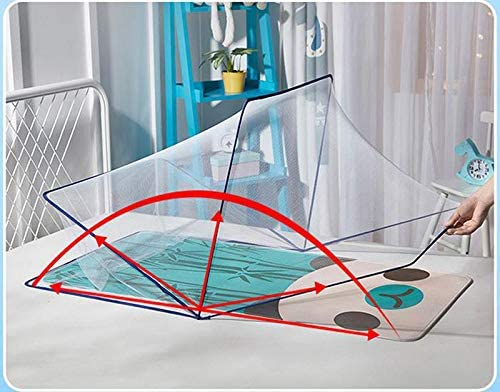 Childrens Folding Mosquito Net Free Installation Baby Bottomless Large Yurt Mosquito Net,Blue