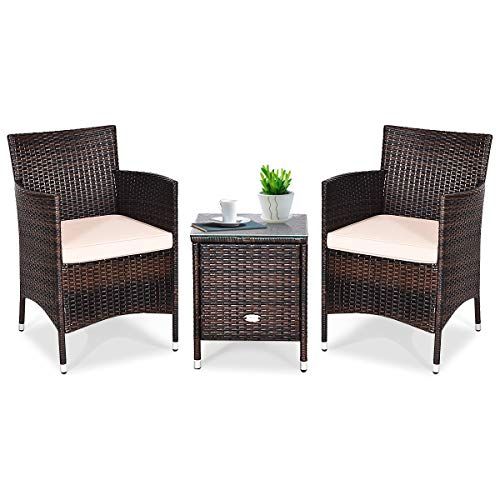 Tangkula 3 PCS Patio Wicker Rattan Furniture Set, Outdoor Rattan Conversation Set with Coffee Table, Chairs & Thick…