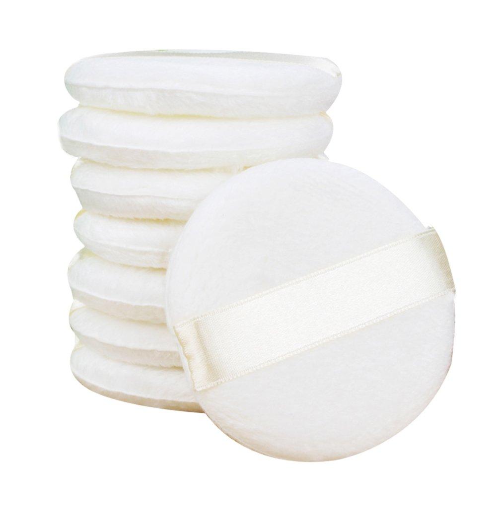 EUBUY Baby Powder Puff - Ultra Soft Fluffy Todder Kids Body Powder Puff with Ribbon 3.2'' Diameter - White Round