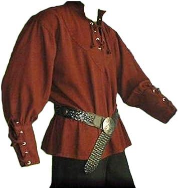 Camisa Vintage de Hombre Camisa Medieval Ropa con Collar de Pie Manga Larga: Amazon.es: Deportes y aire libre