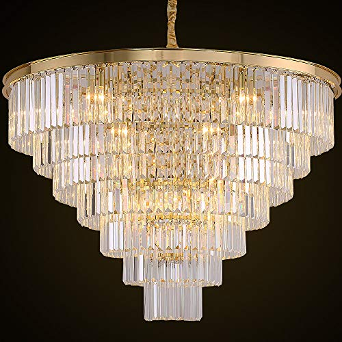 (MEELIGHTING Gold Plated Crystal Chandelier Lighting Modern Contemporary Empress Chandeliers Pendant Ceiling Lamp Light Fixture 7-Tier for Duplex House Dining Room Living Room Hotel (24 Lights) W39.4