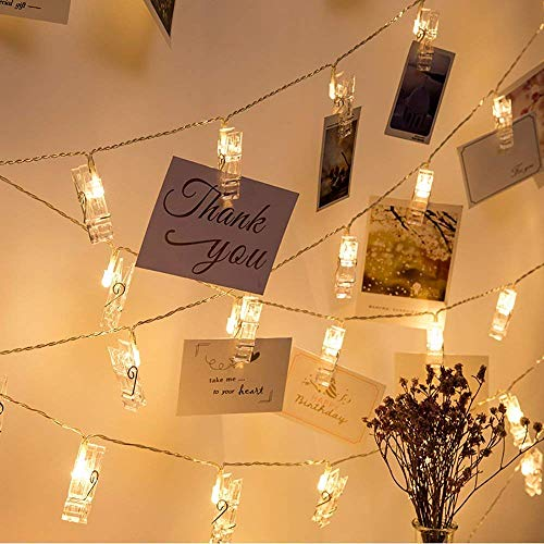 Mumu Sugar Waterproof 40 LED Photo Clips String Lights,8 Modes,Battery Powered,String Lights for Indoor/Outdoor Decorate…