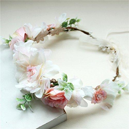 Vivivalue Christmas Boho Handmade Flower Wreath Headband Crown Halo Floral Hair Garland Headpiece with Ribbon Festival Wedding Pink
