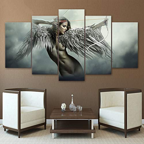 (Ssckll Canvas Hd Prints Wall Art Pictures 5 Pieces Sets Fantasy Angel Warrior Wing Paintings Home Decor Anime Girl Posters-Frameless)