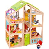 Abigail Dollhouse with 54 pcs furniture set, 4 Dolls, and Pet dog - Wooden Doll house