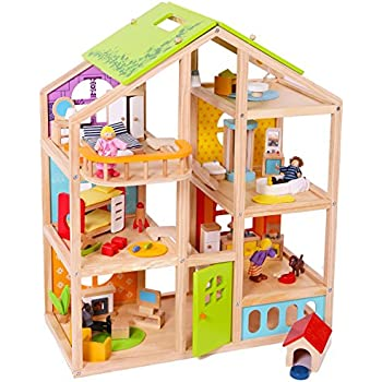 Abigail Dollhouse with 54 pcs furniture, 4 Dolls, and Pet dog - Wooden Doll house