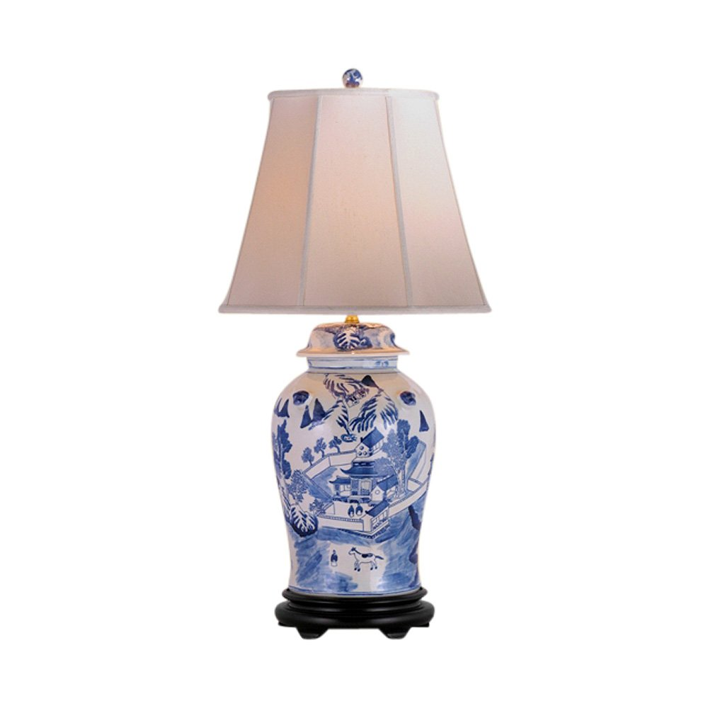Blue and White Blue Willow Porcelain Temple Jar Table Lamp 33''
