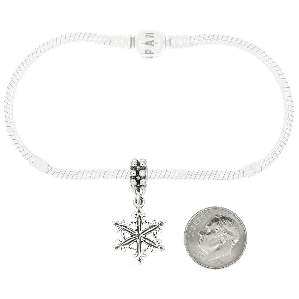 Sterling Silver Fancy Snowflake Dangle Bead Charm
