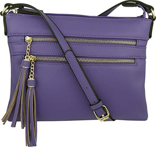 B BRENTANO Vegan Multi-Zipper Crossbody Handbag Purse with Tassel Accents (Ultra-Violet)