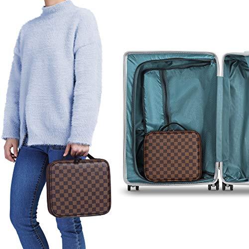 Travel Makeup Bag, Packism Waterproof PU Makeup Train Case Cosmetic Bag for Women Portable Makeup Organizer Artist Storage Bag with Adjustable Dividers, Brown