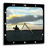 Scenes from the Past Magic Lantern Slide - Indian Rider in Sunset Horizon in the American Southwest - 15x15 Wall Clock (dpp_16131_3)