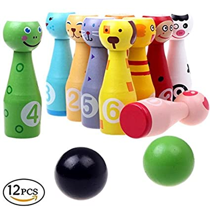 Mini Wooden Animal Bowling Balls Skittle Sports Fun Game Early Learning Educational Toys Gift For Baby Children Kids Toddler Home