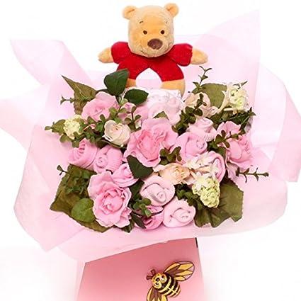 Ramo de bebé con Winnie the Pooh Rattle excelente idea de regalo para bebé, ramo