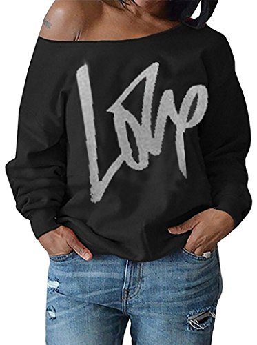 Womens Plus Size Off Shoulder Pullover Sweatshirt Love Letter Printed Tops Shirts