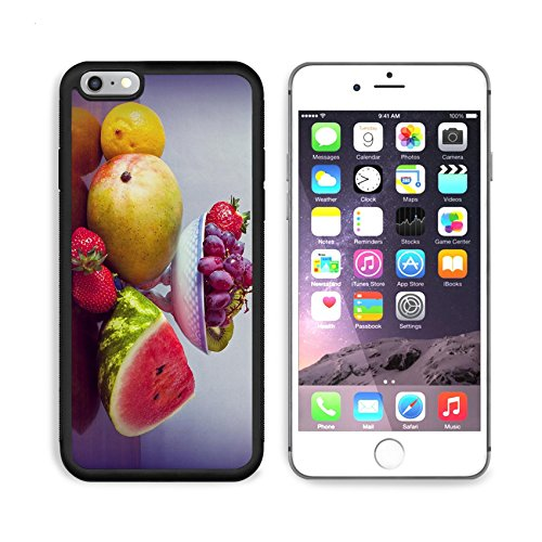 Liili Rare Apple iPhone 6 Plus iPhone 6S Plus Aluminum Backplate Bumper Snap Case iPhone6 Plus Sculpture ID 32705188 fruit assortment lemon grapes a water melon slice strawberries kiwi mango on a woode
