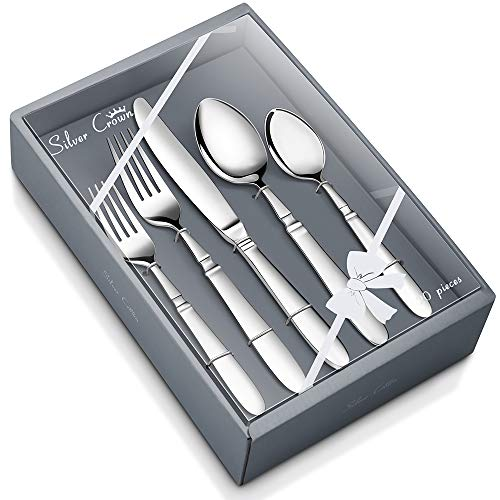 Flatware Set by Kowin, 20 Piece Silverware Set, Stainless Steel Tableware Cutlery Set for Home Kitchen, Hotel, Restaurant, Service for 4, Mirror Finished, Dishwasher ()