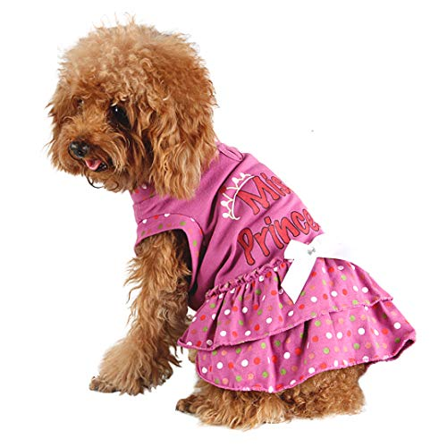Small Dog Dress Pet Clothes for Clothing Summer Cute Princess Painted Bow Dress Party Puppy Skirt Lovely]()