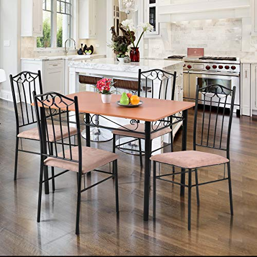 Tangkula 5 Piece Dining Table Set Vintage Wood Top Padded Seat Dining Table and Chairs Set Home Kitchen Dining Room Furniture by Tangkula (Image #1)