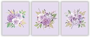 3 Set - Watercolor Peony Art Poster,Purple Flower Bloom Nursery Art Print,Canvas Art Painting for Girls Room Home Decor(Unframed, 8