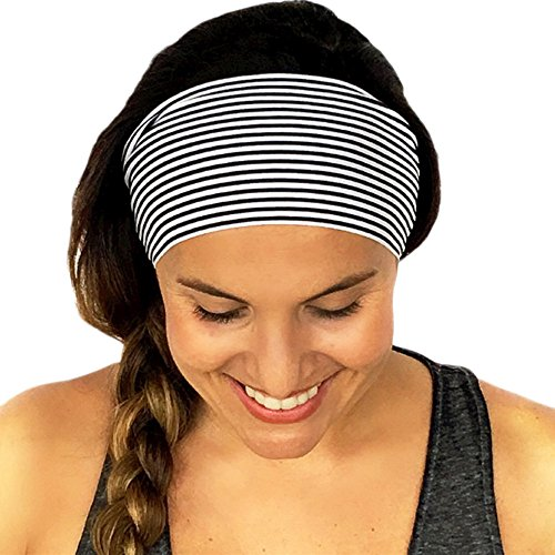 (Women Stripe Yoga Headbands, Elastic Head Hair Accessories Outdoor Sport Gym Stretch Headband Black)