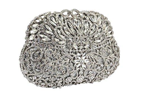 Yilongsheng Ladies perlé Party Sacs à main avec Diamonds (argent)