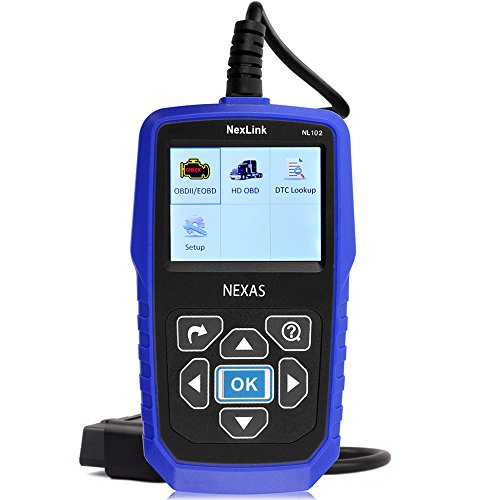 Heavy Duty Truck Scanner NexLink NL102 12V 24V HD OBD ABS Engine Transmission Brake Heavy Truck Scan Tool, Car OBD2 Scanner, Car&Truck 2 in 1 With Battery Test Function Code Reader (In Cab Scanner)