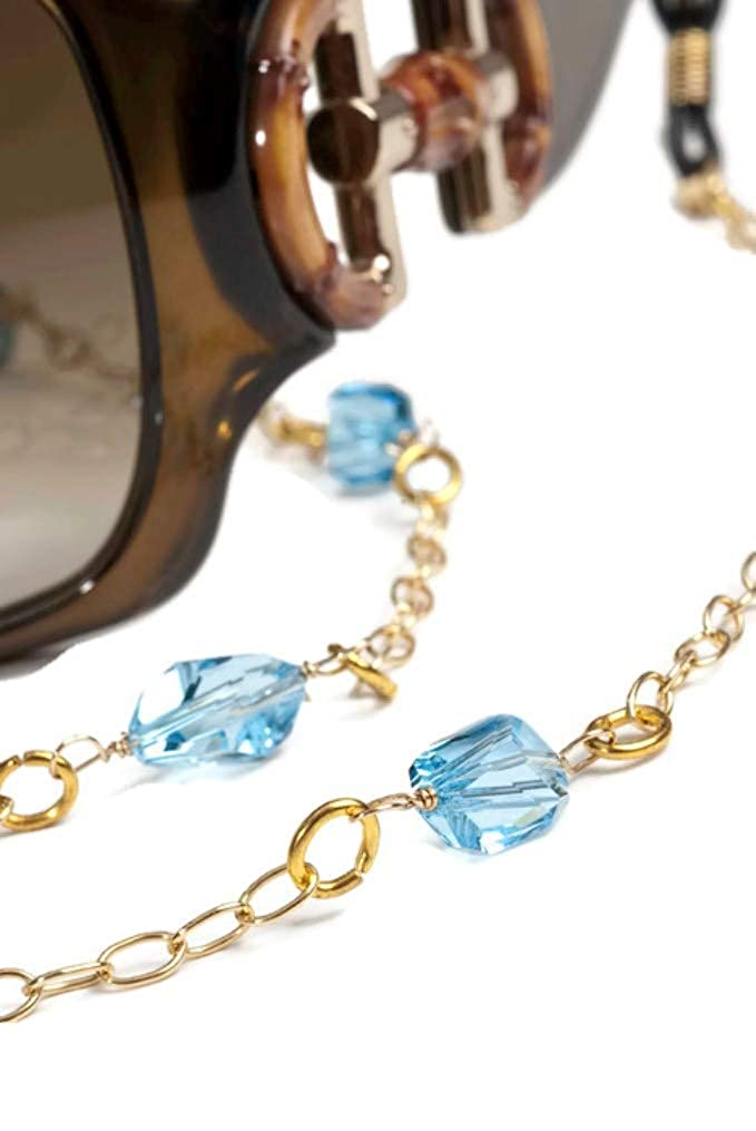 Ipanema gold Filled Eyeglass Chain with Swarovski bluee Crystals, Eyeglass Holder bluee for Women,Gift Ideas, Fashion Reading Glasses Chain Necklace, 14K