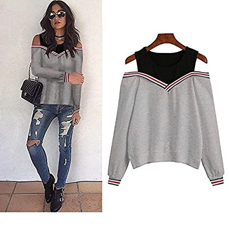 Aster Moon Shop Off Shoulder Patchwork Hoodies Top Autumn Winter Crew Neck Pullovers Tracksuit, (Color - Red, Size - XL) at Amazon Womens Clothing store: