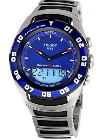 Tissot Men's  'Sailing Touch' Blue Dial Stainless Steel/Rubber Multifunction Watch T056.420.21.041.00