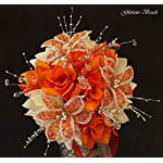 Wedding-Flowers-Orange-and-CreamIvory-BEADED-Lily-Bouquet-16-piece-package-with-boutonnieres-Perfect-for-Quinceanera-Other-colors-available-in-my-Amazon-store